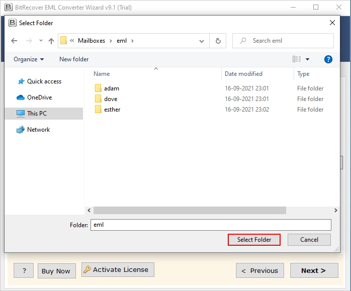 select email folder to convert eml to pdf file