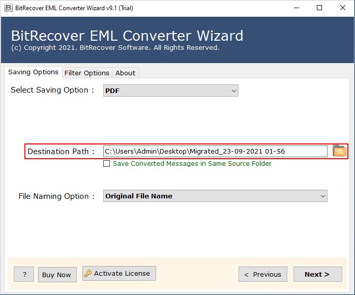 advance option to convert eml to pdf