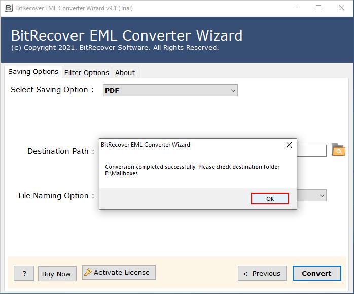 convert eml to pdf conversion complete