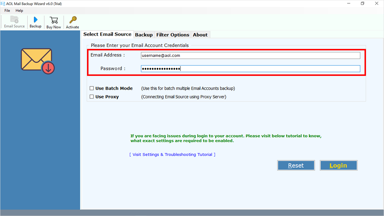 enter details to AOL to Outlook PST