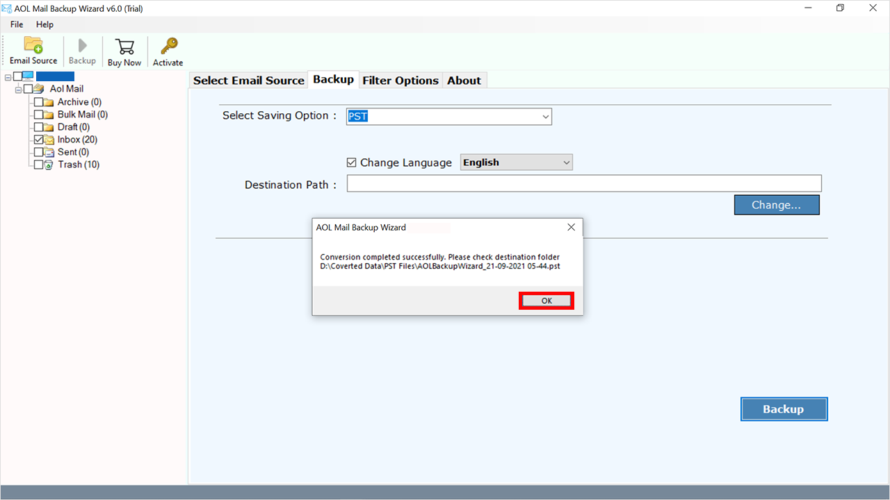 conversion complete AOL to Outlook PST